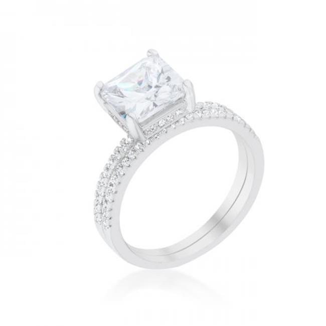 Princess Solitaire Wedding Set Ring - Size 9 - image 1 de 1