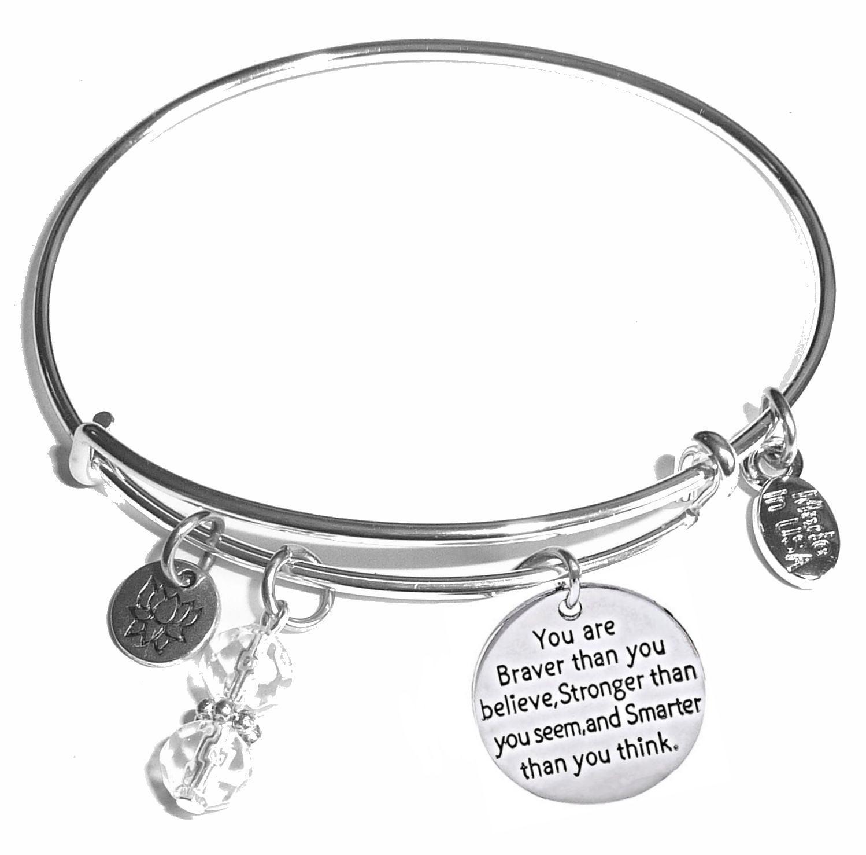 Dove Stronger Braver Smarter Engraved Bracelet