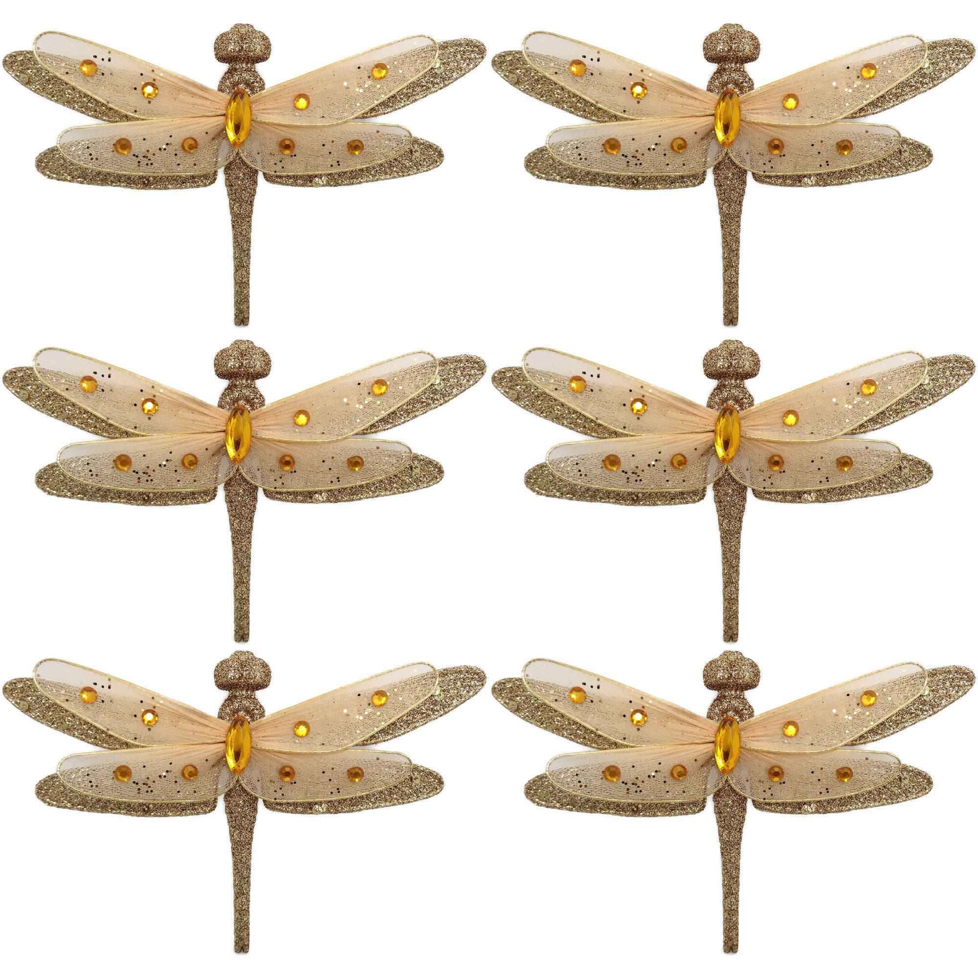 Holiday Time Gold Clip-On Dragonfly Christmas Ornaments, Set of 6 ...
