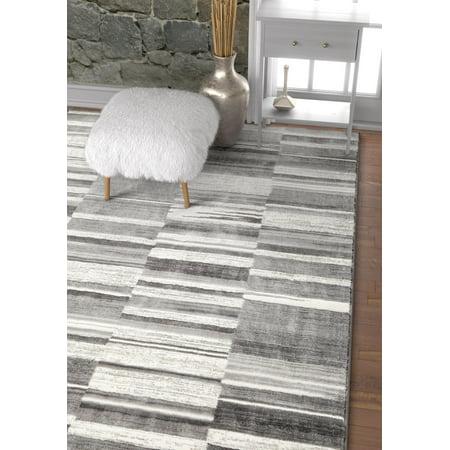 - Voyage Grey & White Modern Geometric High-Low Pile Area Rug 3x5 (3'11