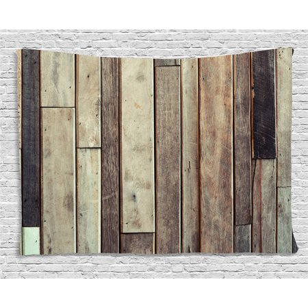 Wooden Tapestry, Antique Planks Flooring Wall Picture American Style Western Rustic Panel Graphic Print, Wall Hanging for Bedroom Living Room Dorm Decor, 80W X 60L Inches, Brown, by Ambesonne