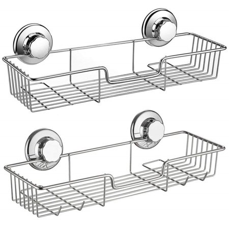 Set of 2 Shower Caddy,Strong Suction Cup Bathroom Shower Caddies,Bath Shelf Storage Combo Organizer Basket, Kitchen & Bathroom Accessories for Shampoo Conditioner - Rustproof Stainless Steel ()