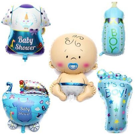 LAttLiv Mylar Balloons 5 Pcs Set Baby Shower Decorations For Boy With 100 Free Spot Glue - Helium Bottle