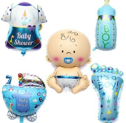 LAttLiv Mylar Balloons 5 Pcs Set Baby Shower Decorations For Boy With 100 Free Spot Glue