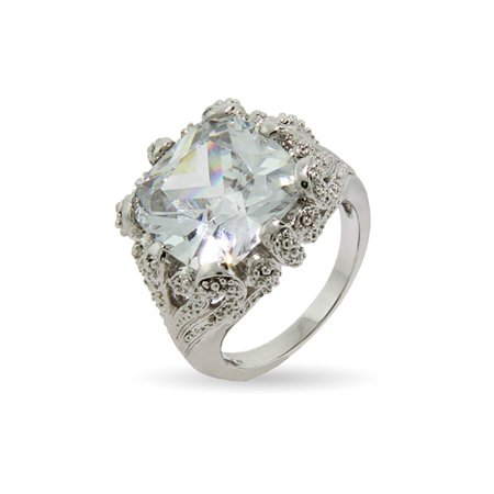 Vintage Style Right Hand Ring (Dazzling Vintage Style 8 Carat Cushion Cut CZ Right Hand Ring)