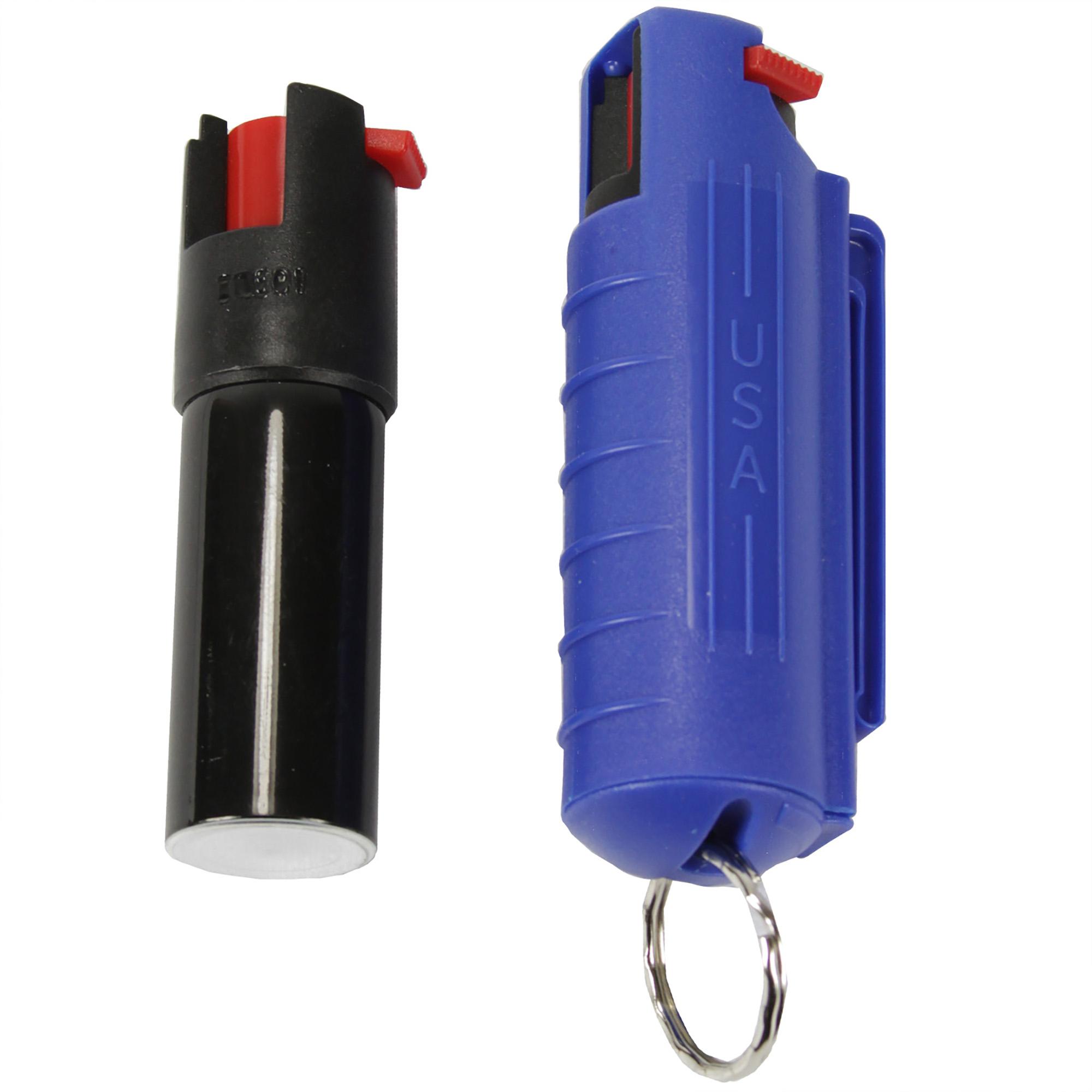 Pepper Spray with Hard Case Key Ring Belt Clip - Blue (0.5 oz)