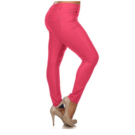 7e031be0e9a Enimay - Women s Jeggings Plus Size Pants Leggings Tights Skinny Jeans Pull  On Fuchsia XXX-Large - Walmart.com