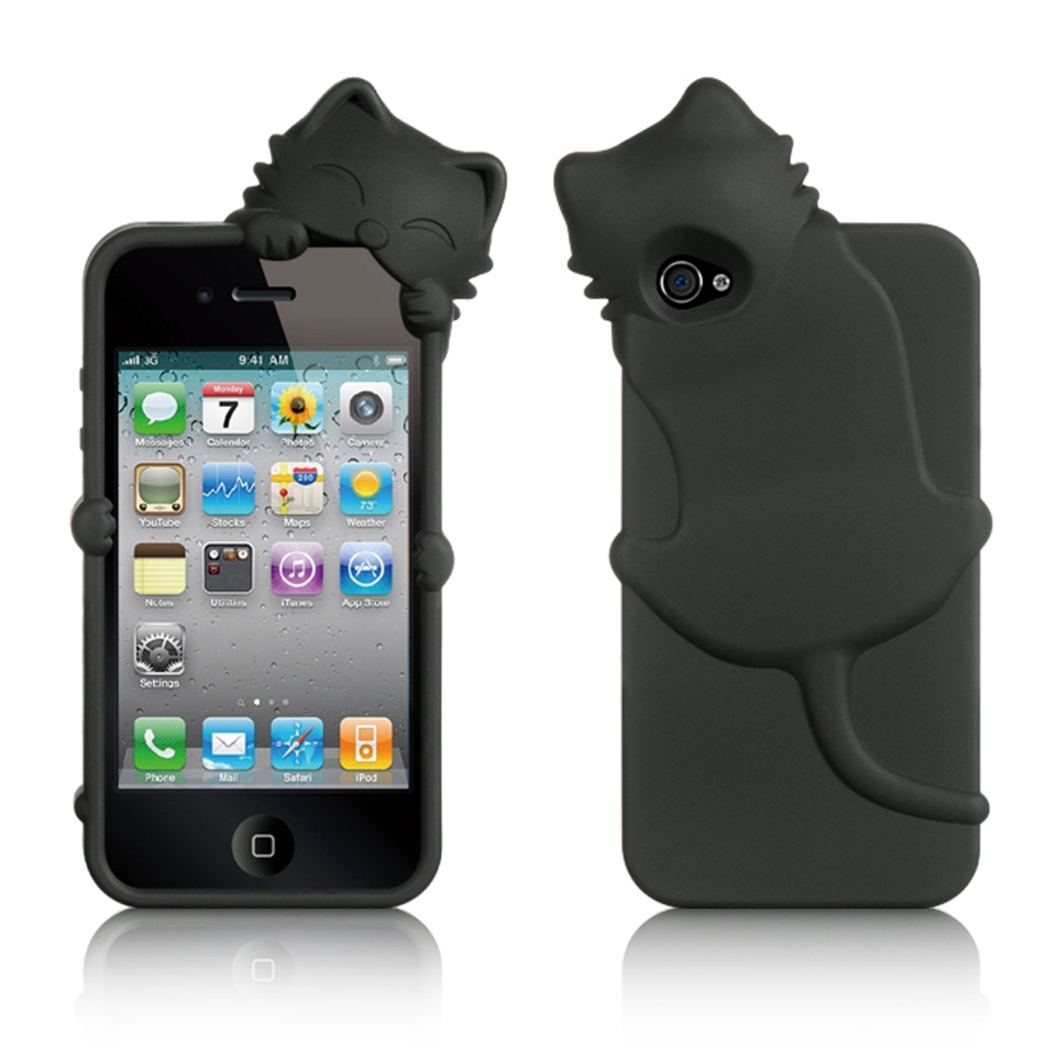 iPhone 4S Case, by Insten Cartoon Cat Rubber Silicone Soft Skin Gel Case Cover With Diamond For Apple iPhone 4/4S, Black
