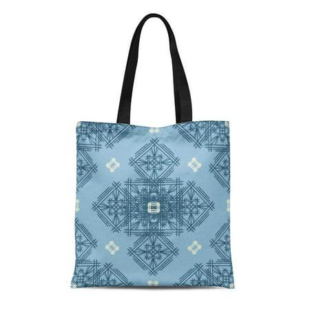 ASHLEIGH Canvas Tote Bag Blue Abstract Tribal Ethnic Boho Ethno Batik Bohemian Christmas Reusable Shoulder Grocery Shopping Bags