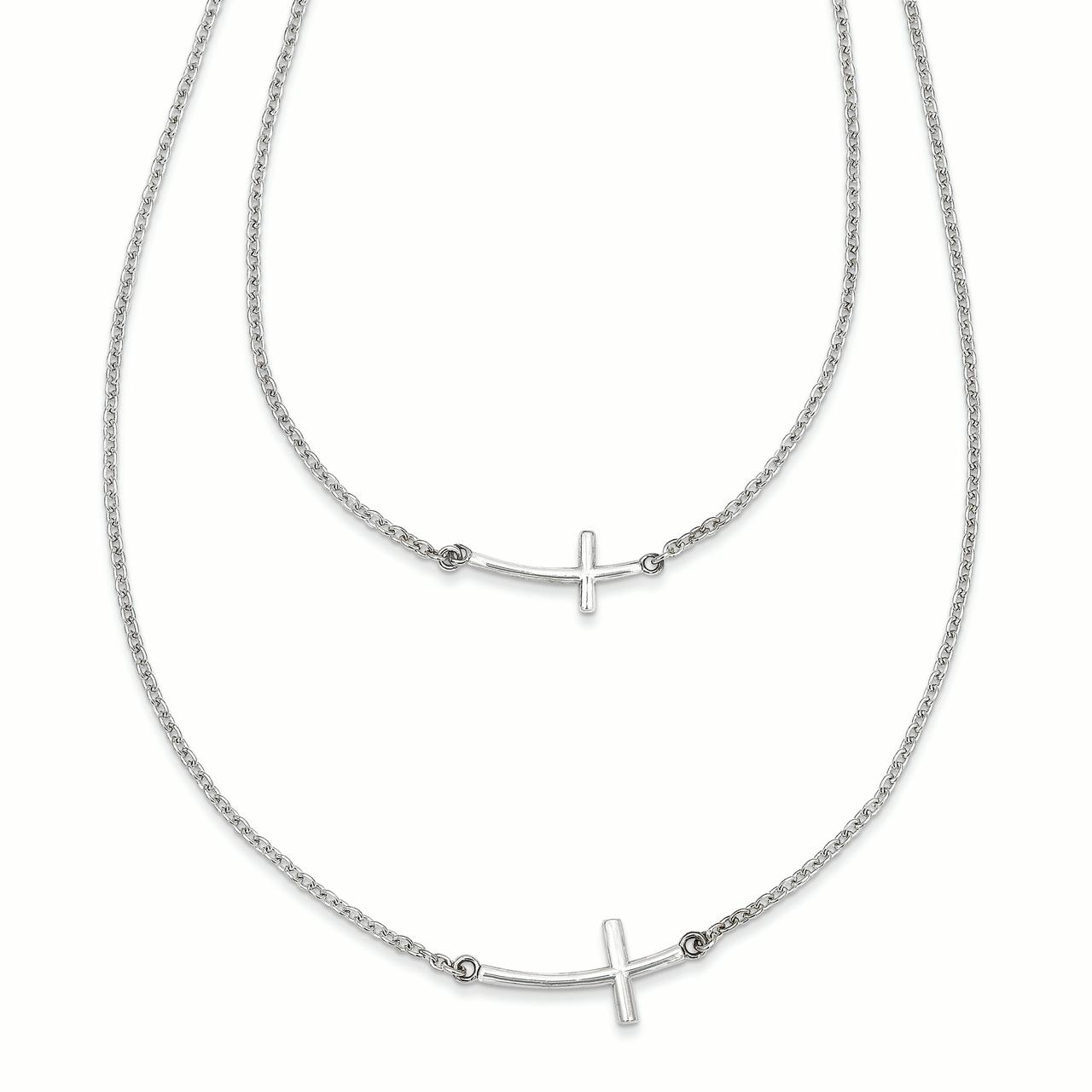 Sterling Silver Small & Large Sideways Curved Cross 2-Layer Necklace QG3463 by Sideways Crosses