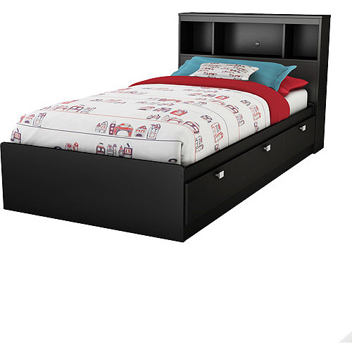 South Shore Spark Twin Bed & Bookcase Headboard, Multiple Finishes