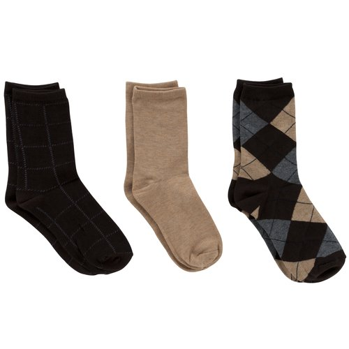 Faded Glory Women's Assorted Argyle Crew Socks, 3-Pack