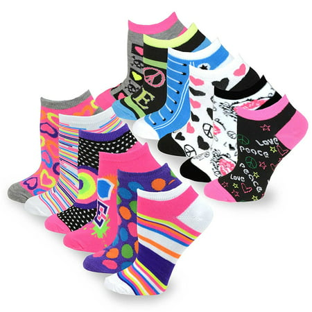 TeeHee Women's Fashion No Show Fun Socks 12 Pairs Packs (Love Peace Lips-Rainbow Hearts)