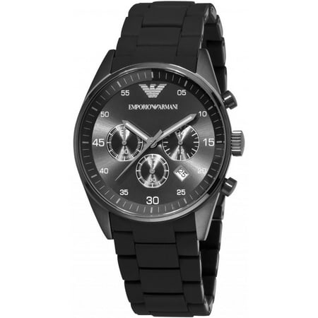 Emporio Armani Men's Fashion AR5889 Black Silicone Quartz Dress Watch