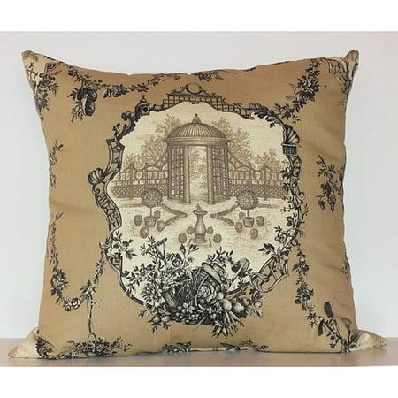 RLF HOME Garden Pleasure 40inch Square Charcoal Toile Decorative Best Toile Decorative Pillows