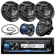 """JVC KDX33MBS Marine Boat Yacht Radio Stereo CD Player Receiver Bundle Combo With 4x JVC CS-DR6200M 100-Watt 6.5"""" 2-Way Coaxial Speakers + Enrock Radio Antenna + 50 Foot 16g Speaker Wire …"""