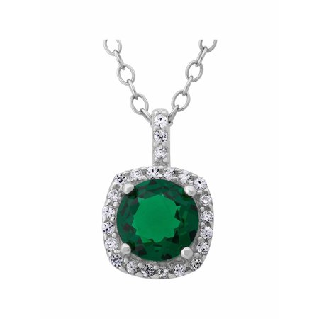 Created Emerald and White CZ Sterling Silver Round Halo 6mm Pendant, 18