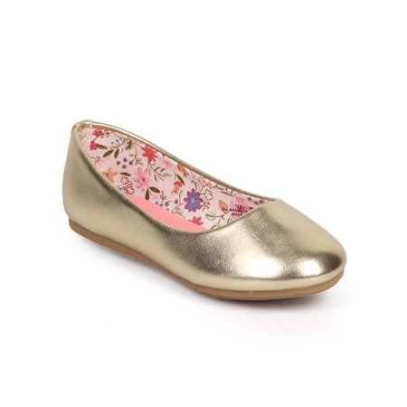 Little Angel DC41 Metallic Round Toe Classic Slip On Ballerina Flat (Toddler/ Little Girl/ Big -