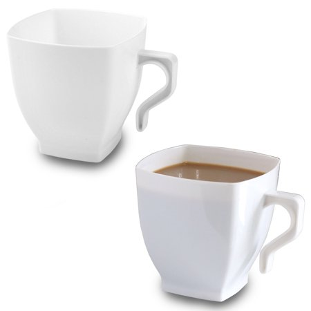 White Plastic Coffee Cups - 8oz Square Mugs with Handle - Disposable or Reusable (16 Cups) ()