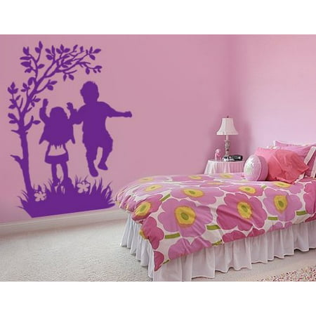 Happy Kids Playing in Nature Wall Decal Wall Sticker Vinyl Wall Art Ho