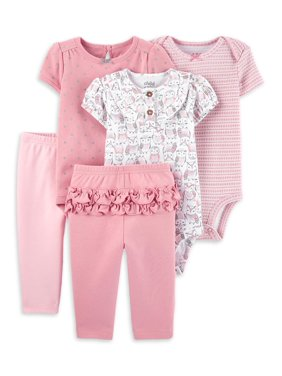 Child of Mine by Carter's Baby Girl Mix N Match Short Sleeve Bodysuits & Pants, 5pc Outfit Set