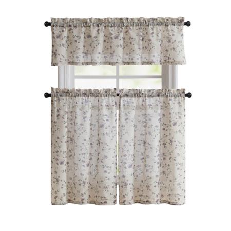 Floral Chic Cherry Blossom Kitchen Curtain Tier & Valance Set - Purple
