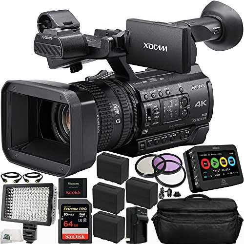 """Sony PXW-Z150 4K XDCAM Camcorder + Atomos 4.3"""" Ninja 2 Video Recorder (Full Version) 17PC Accessory Kit. Includes SanDisk Extreme PRO 64GB SDXC Memory Card + 4 Replacement F970 Batteries + MORE"""