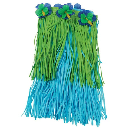 US Toy Hawaiian Luau Flower Hula Skirt, Blue Green, Child Size - Green Hula Skirt