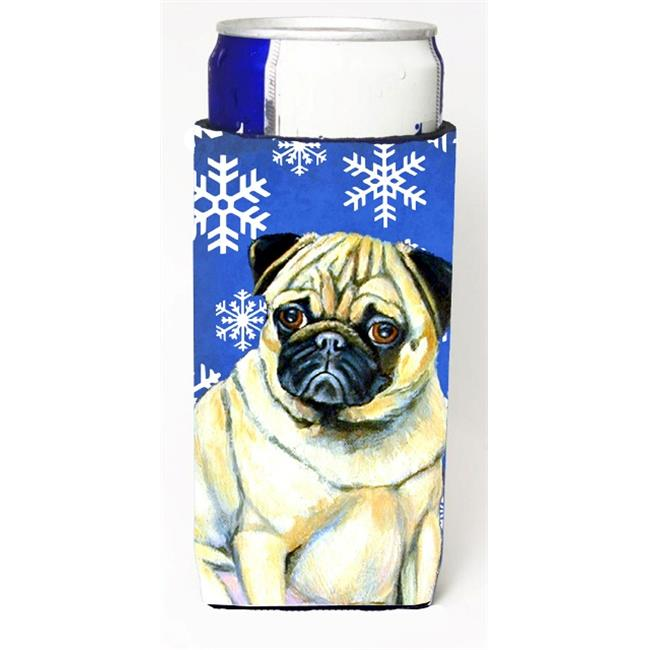 Pug Winter Snowflakes Holiday Michelob Ultra bottle sleeves For Slim Cans - 12 oz. - image 1 of 1