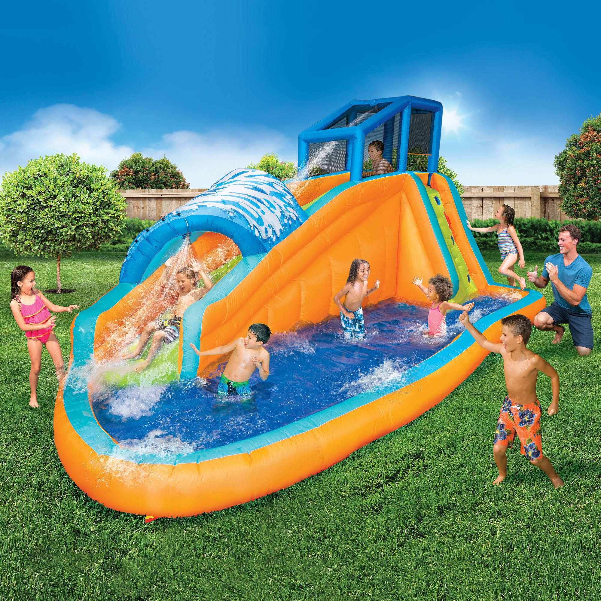Banzai Surf Rider Aqua Park Inflatable Water Slide Backyard Summer Fun Pool
