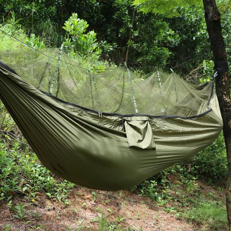 Double Person Travel Outdoor Camping Tent Portable Multicolor Parachute Cloth Hanging Hammock Folded Bed With Mosquito Net,Military