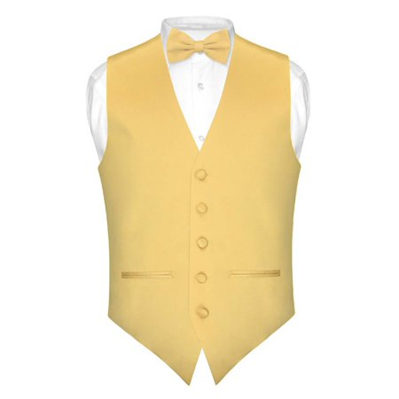 Vest Bow Tie (Mens SLIM FIT Dress Vest BowTie Solid GOLD Color Bow Tie Handkerchief)