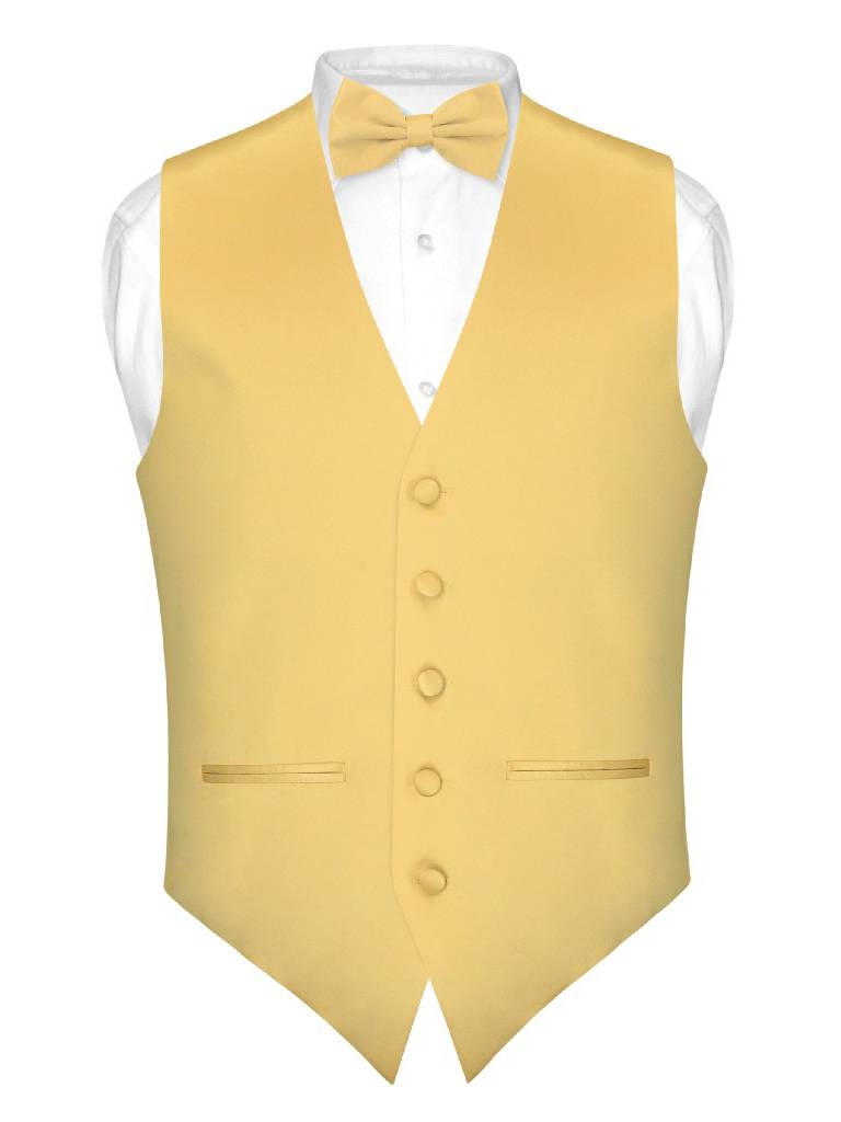 Mens SLIM FIT Dress Vest BowTie Solid GOLD Color Bow Tie Handkerchief Set