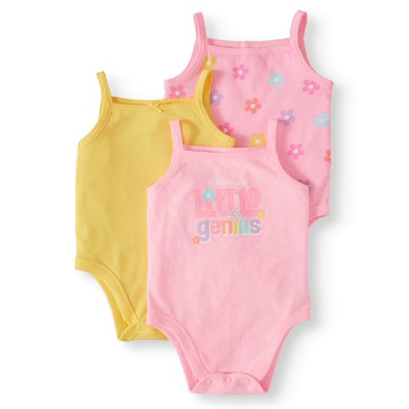 Garanimals Graphic, Print, & Solid Cami Bodysuits, 3pc Multi-Pack (Baby Girls)