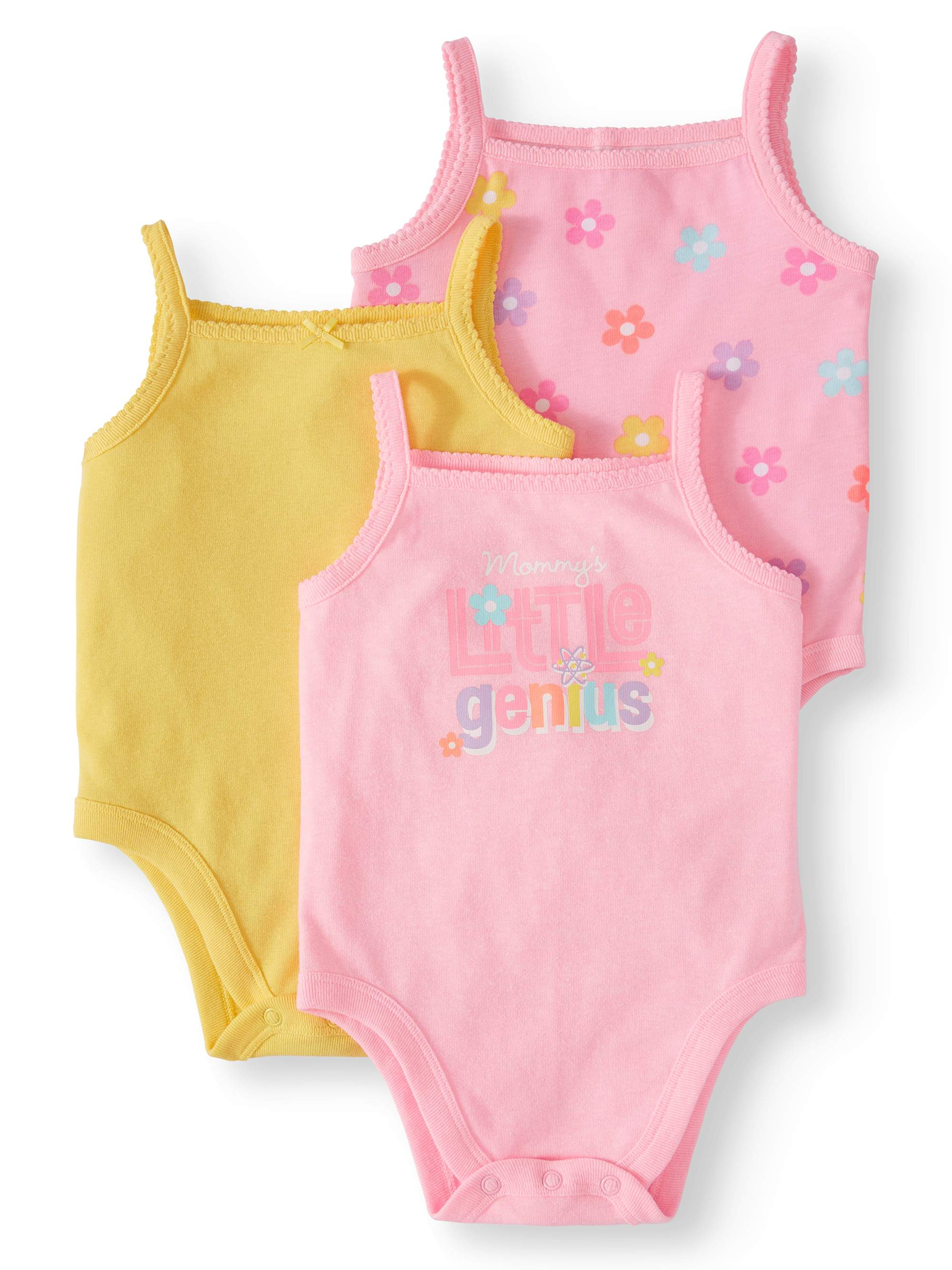 Graphic, Print, & Solid Cami Bodysuits, 3pc Multi-Pack (Baby Girls)