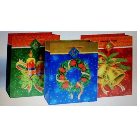 Christmas 3 Bugs - 3 Pk Traditional Christmas Large Glossy Gift Bags