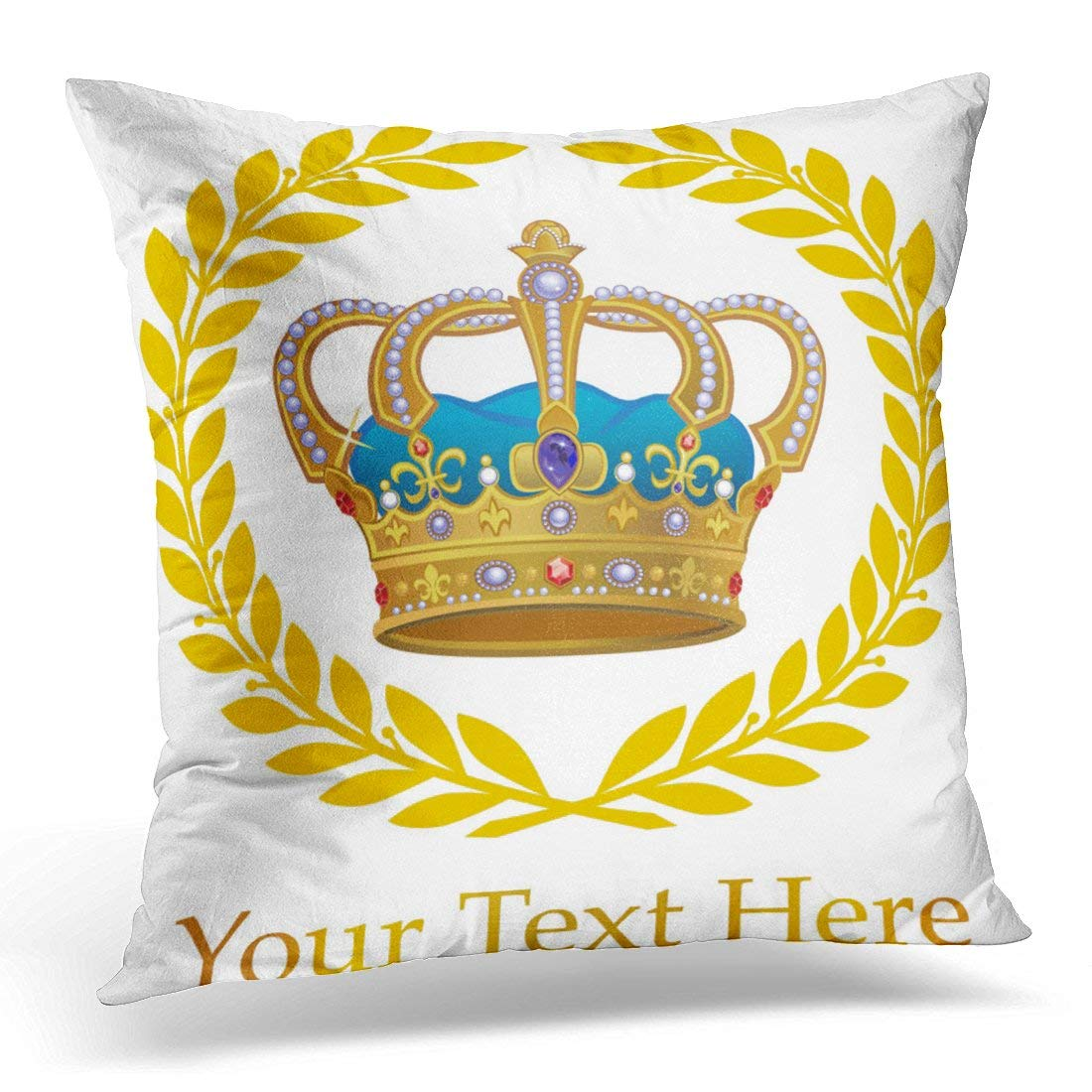 USART Jeweled Royal Gold Crown Antiques Pillow Case Pillow Cover 18x18 inch