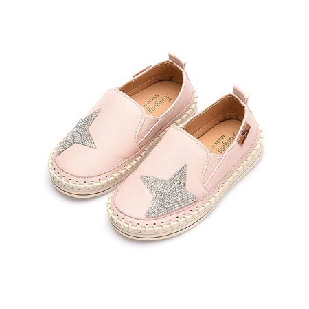KidUtowu Kids Girls Casual Flat Loafers Shoes Children Star Print Leather Slip-on Sneaker