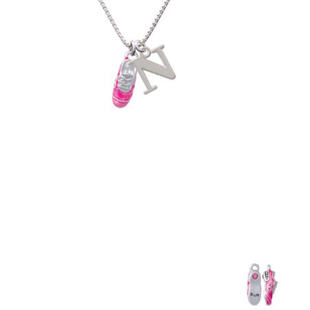 Silvertone 3 D Hot Pink Running Shoe Capital Initial N Necklace