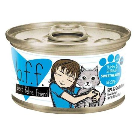B.F.F. - Best Feline Friend Grain-Free Wet Cat Food Cans & Pouches by Weruva Tuna & Shrimp Sweethearts 3-Ounce Can (Pack of