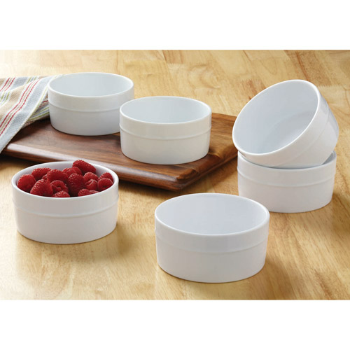 Better Homes and Gardens Small Round Ramekins, White, Set of 6