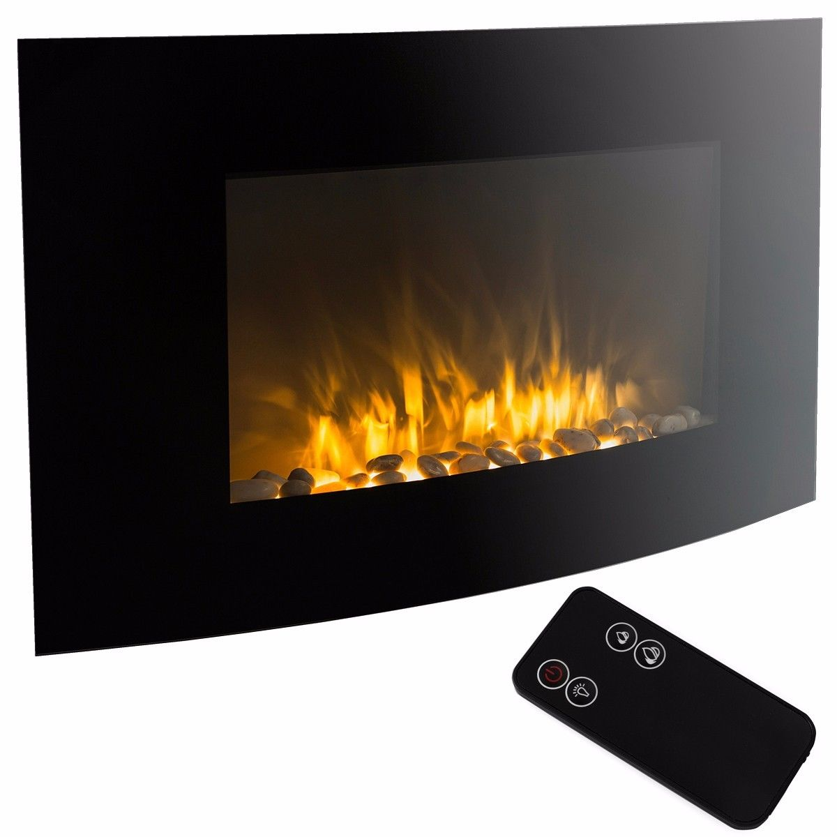 "GHP 35""x22"" 1500W Adjustable Wall Mount Electric Fireplace Heater with Remote Control"
