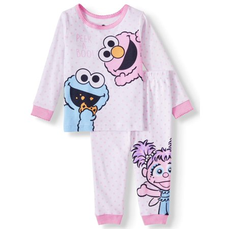 Sesame Street Baby Girl Snug Fit Cotton Long Sleeve Pajamas, 2pc Set Baby Girls Long Sleeved Pajamas
