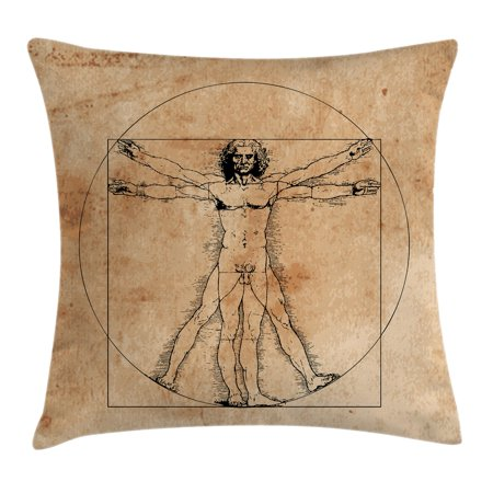 Human Anatomy Throw Pillow Cushion Cover, Medieval Vitruvian Man Crosshatching Famous Italian Painting Renaissance Body Art, Decorative Square Accent Pillow Case, 16 X 16 Inches, Sepia, by Ambesonne (Male Halloween Body Painting)