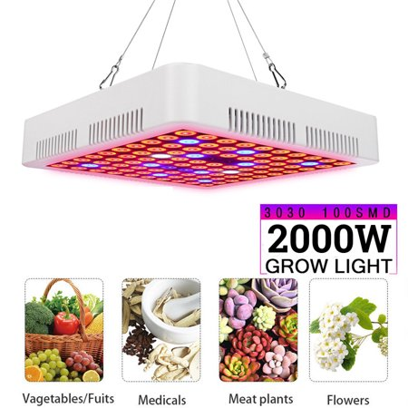 85-265V 2000W 100 LED Grow Light Lamp Hydroponic Full Spectrum For Veg Greenhouse And Flower Indoor Plant Grow Light Lamp With Rope Hanger and P-ower (Lights Of America Led Grow Light Review)