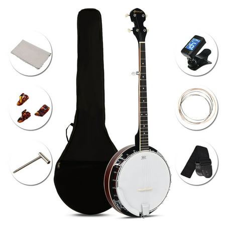 Costway Sonart 5 String Geared Tunable Banjo 24 Brackets Closed Back Remo Head w/ Case