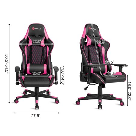 Massage Gaming Chair Reclining Racing Chair w/Lumbar Support and Headrest Pink - image 9 of 10