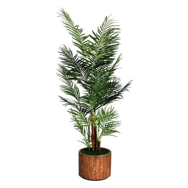 Laura Ashley by Vintage Home 81-in Tall Areca Palm Tree in 16-in Fiberstone Planter 36L 36W 81H