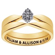 Personalized Women's Gold over Sterling Engraved Diamond Cluster 2 piece Wedding Set
