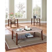 Nadav Square Faux Marble 3-Piece Coffee and End Table Set, Dark Cherry